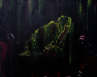 Cast (acrylic painting, original, expressionistic, 30 cm x 30 cm)