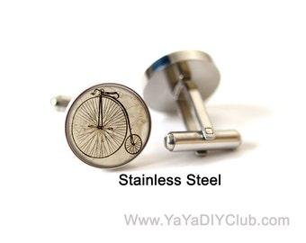 Penny Farthing Bike Cuff links, Vintage Bike accessories, Penny Farthing Bicycle cuff links