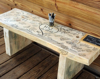 Wedding Bench 4 FOOT- Heart with Names or initials *Guests sign!!!