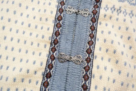 Dale of Norway fair isle sweater Nordic folk gray blue pewter clasp cardigan large Nordic vintage cardigan 100% wool L yy7kRib