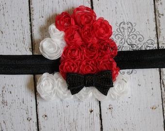 Santa Hat Headband- Holiday Headband- Christmas Headband- Baby Girl Headband - Baby Headband - Newborn Headband- Infant Headband- Red- White