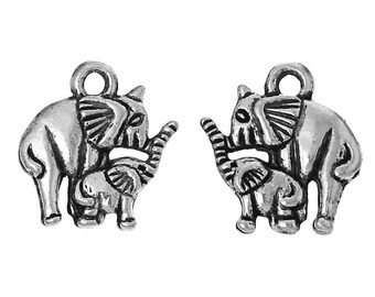 Silver Elephant Charms Small Elephant Pendant Mother Elephant Baby Zoo Animal African Indian Elephant 4/10/20 4145