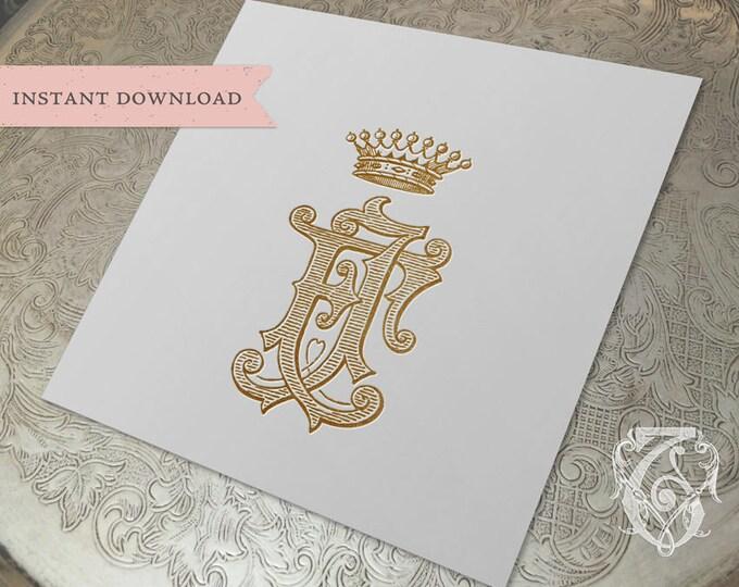 Vintage CROWN Monogram FJ  Digital Download FJ crown monogram