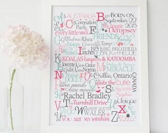 Personalized Baby Gift, Baby Girl Gift, Custom Nursery Print, Custom Baby Gift, Nursery Decor, Baptism Gift, Baby Shower Gift, Kids Wall Art