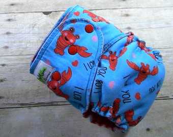 I Lob You One Size Hybrid Fitted Diaper {Serged}