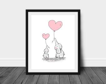 Printable Elephant Art, Elephant Nursery, Baby Amimal, Digital Print, Instant Download, Nursery Print, Elephant Print, Baby Elephant Art