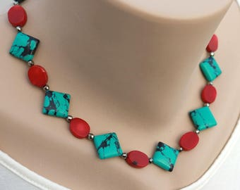 Boho necklace for girlfriend, red necklace, gift for her, Mothers day gift