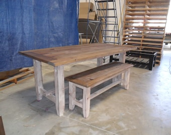 Reclaimed Salvaged Solid Wood Dining Table, Vintage and Rustic