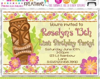 235: DIY - Tikki Hawaiian Luau Party Invitation Or Thank You Card