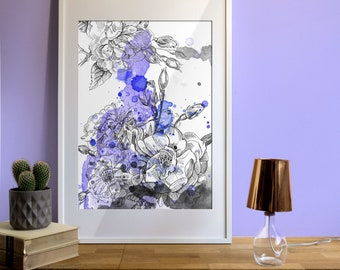 Wild Purple roses-ink-illustration with violet watercolor structures