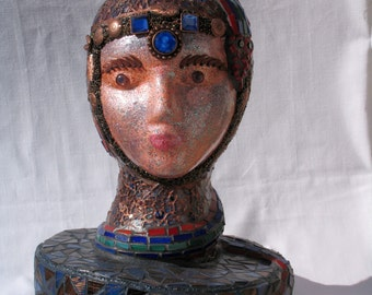 Snake-Lady-Mosaic-Art-Head-Sculpture-One-of-a-Kind-Great-in-your-home - HE100