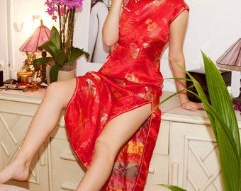 Vintage 70's Handmade Chinese Silk Brocade Dress