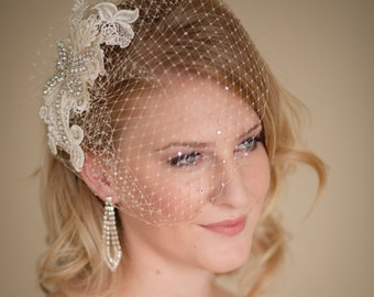 Birdcage Veil with Lace and Rhinestone Fascinator Made to Order Champagne Ivory or White