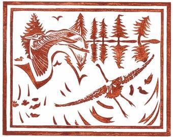 "8 x 10"" Laser Print of ""Herons Alight"" (mottled brown)"