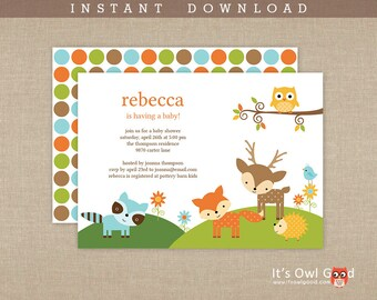 WOODLAND Baby Shower Printable Invitation - Instant Download
