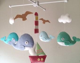 """Baby crib mobile, Felt mobile, Baby crib mobile, Whale mobile, Boat mobile, nursery mobile - """"Ocean Freedom3"""""""