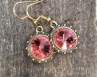 Gold and peach jewelry, peach bohemian jewelry, antiqued gold, peach earrings
