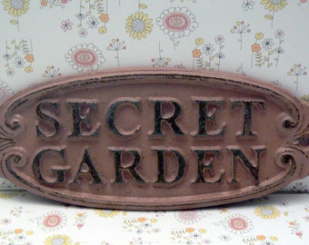 Secret Garden Gate Wall Plaque Sign Cast Iron Shabby Elegance Dusty Rose Blush Oval Oblong Ornate Scroll Accented Wall Door Sign