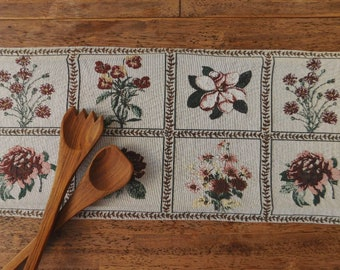 Vintage floral table runner. Floral table runner. Jewel-tone table linens. Vintage table linens. Bohemian, farmhouse decor.
