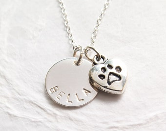 Dog Lover Necklace, Personalized, Pet Memorial Necklace, Pet's Name, Paw Print, Dog Lover Gift, Pet Loss, In Memory of Dog
