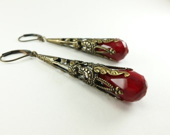 Vampire Earrings Blood Red Dangle Earrings Victorian Jewelry Antiqued Brass Filigree