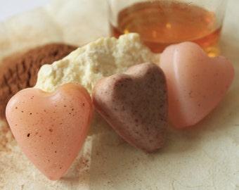 Yummy Shea Butter Chocolate & Honey Vanilla Glycerin Heart Soaps (3 Pack)