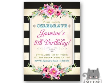 Girl's 8th Birthday Invitations / Colorful Florals / 1st 2nd 3rd 4th 5th or Any Age / Printed Invitations or Personalized Diy Invites 90a