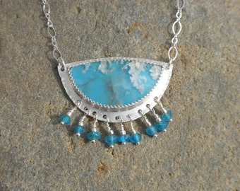 Lovely Regency Plume Agate Necklace with Apatite Beads, Sterling Silver, Regency Plume Agate, Blue, Apatite