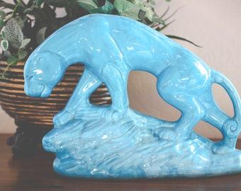 Beautiful Turquoise Mid-Century Modern Ceramic Jaguar