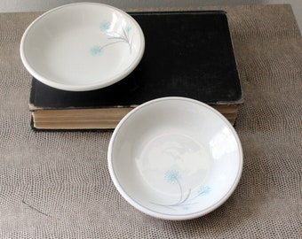Set of Two (2) Small Bowls by Caribe Casual Puerto Rico MCM Mid Century Decor Atomic Style Retro Kitchen Light Blue and Gray Modern
