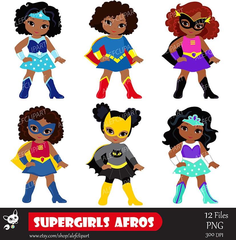girls superhero clip art supergirl clipart african american rh etsy com girl superhero clipart free boy and girl superhero clipart
