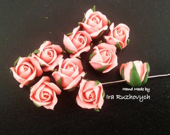10 pcs. pink roses with hole, polymer clay flower bead