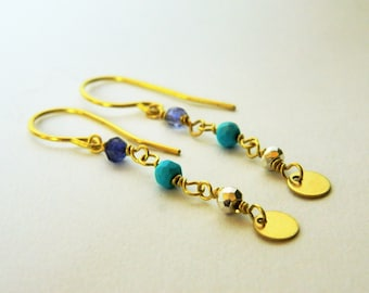 Earrings stones fine iolite, turquoise, pyrite, brass