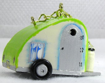 Unique Lime Green Ornamental Tear Drop Trailer Bird House