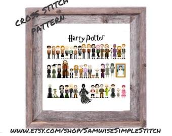 Harry Potter cast line up funny cross stitch PATTERN
