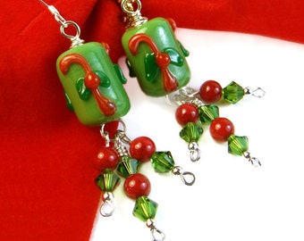 Candy Cane Earrings, Fun Christmas Earrings, Holiday Green Red Cluster Earrings, Holiday Lampwork Dangles, Christmas Cluster Earrings, OOAK