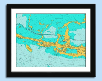 Key Largo FL - Key Largo FL Chart - Florida Keys - Nautical Chart Decor