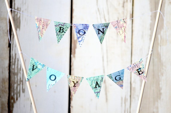 BON VOYAGE Hand Stamped Wedding Cake Topper Garland, mini vintage map paper bunting - custom colors available