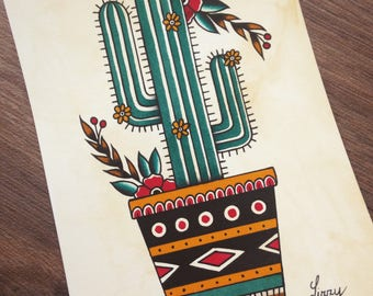 Cactus tattoo flash art print