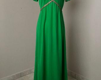 Vintage 1960s Green Floor Length Formal Dress With Gold Empire Waist Detail / 60s Green Dress / Long Dresses / Mod Dress / Green And Gold
