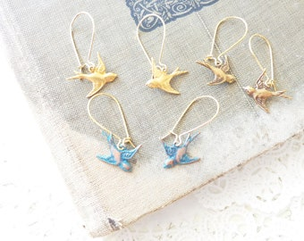 Sparrow Earrings - Flying Sparrow Dangle Earrings - Swallow Earrings - Brass Sparrow Earrings - Copper Verdigris Sparrow Earrings