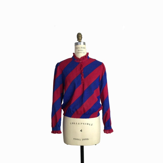 Vintage 70s Diagonal Stripe Ruffle Blouse / Crimson Red & Indigo Blue Striped Top - women's xs/small petite