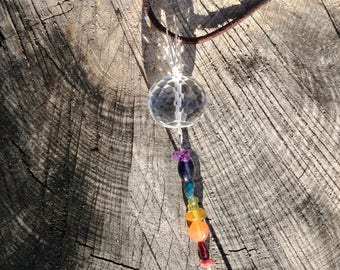 Clear Crystal Quartz  Rainbow Gemstone Art Pendant with Sterling Silver and Leather Necklace