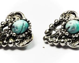 Beautiful Vintage Silver Plate Triangle Oval Clip On Earrings 25mm Earrings
