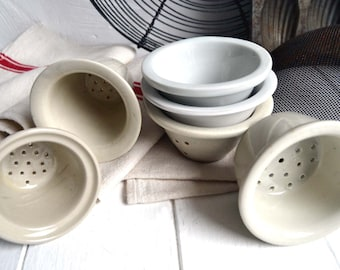 Collection of 6 Vintage Rustic French Kitchen Ceramic Faisselle Cheese Moulds Whey Molds Drainers
