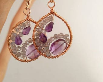 Amethyst and Labradorite hand wrapped earrings