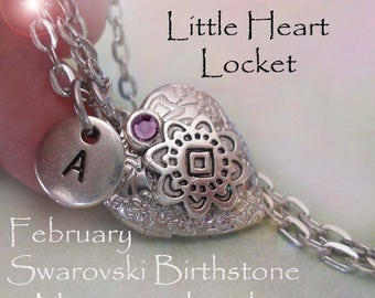 Little Heart Locket February Birthday Personalized w-Swarovski Birthstone and Letter Charm, February Birthday Gift, February Birthstone