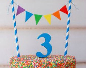 Cake Bunting Fiesta Topper Rainbow Party Pleaños Pennant Garland Flag