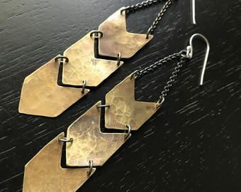 Brass Chevron Earrings - Triple