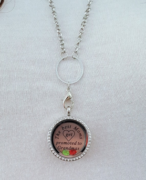 Grandma Memory Locket / Gifts for Grandma / Gift for Grandmother / Living Locket / The Best Moms Get Promoted to Grandma / Grandma Necklace